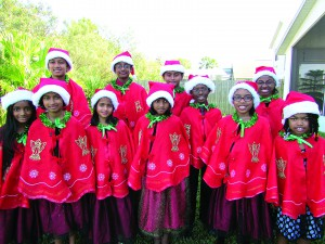 These are the members of the Merry Makers, a Wesley Chapel children's chorus. They include, in front from left, Nuvini Wijesundara, Sandali Idippili, Sayuri Ranatunga, Yuthmi Gamage, Bianca Walker and Jasmine Mazard. In back, from left, Ravidu Idippili, Thevin Wijesundara, Yeran Gamage, Jeremiah Williams and Breonna Walker. (Photo by B.C. Manion)