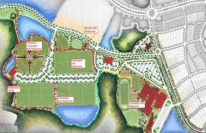 Developers of the Starkey Ranch District Park showed the proposed layout of its massive recreational offerings within the community just off State Road 54 past Trinity. The first phase of the district park is expected to open in 2015, with the county expected to take over the full estimated $285,000 in maintenance and operations costs a decade from now. (Image courtesy of Pasco County Commission)