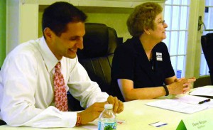 Danny Burgess and Beverly Ledbetter at a recent candidate forum.