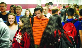 Wiregrass Ranch High School assistant principal Shauntte Butcher compares the swarm of students passing through the corridors to the traffic jam at State Road 56 and Bruce B. Downs Boulevard at 5 p.m. (Courtesy of Wiregrass Ranch High School)