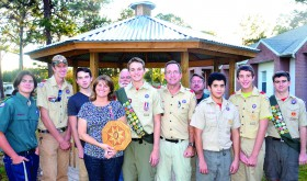 Building a gazebo isn't a one-man project. Eagle Scout Robert Sturm recruited help to get it built for the church. (Courtesy of the Sturm family)