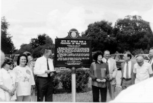 This photo was taken during the 1995 dedication of a historic marker to record the fact that German prisoners of war lived in Dade City during World War II and served as laborers. They were paid the prevailing wages, but the U.S. government deducted money to cover expenses for housing and feeding them. (Courtesy of Fivay.org)