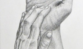 Hands are difficult to draw, Alex Minnick said. They need to look realistic and convey the appropriate emotion at the same time. After significant practice, he's improved his technique.