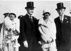 Edward Bok and his wife, Mary Louise, are shown here with President Calvin Coolidge and his wife, Grace, on Feb. 1, 1929, the day that Coolidge spoke at the dedication ceremony at Bok Tower Gardens in Lake Wales. (Courtesy of Bok Tower Gardens)