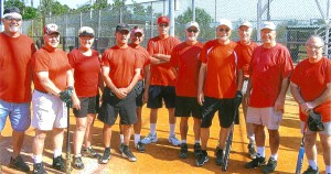 The Red Team was one of Senior Sports' softball teams. Now known as North Tampa Bay Senior Softball, the group will begin its fourth year of play next month with at least four teams. (Courtesy of Walt Bockmiller)