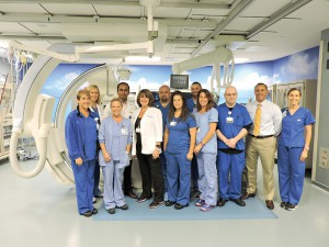When someone arrives at St. Joseph's Hospital-North with a STEMI (ST elevated myocardial infarction), this team of specialists springs into action to provide treatment. (Courtesy of St. Joseph's Hospital-North)