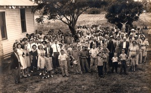 Church picnics were a great way to bring members together. This is one of those gatherings. The church will be having a dinner to celebrate its 75th anniversary on Jan. 17. (Courtesy of Joan Fletcher)