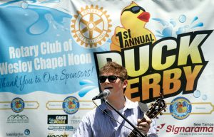 Mike McDonald, of Trinity, was one of the performers at the Duck Derby held behind Hungry Harry's Bar Family Bar-B-Que on U.S. 41. Held for the first time in Land O' Lakes, it is expected to be an annual event.