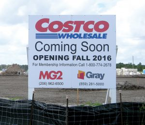 The fall opening of Costco Wholesale, in front of Tampa Premium Outlets, will be delayed until early February due to rain delays to the construction schedule. (Kathy Steele/Staff Photo)