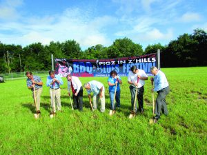 Several Zephyrhills community leaders were on hand for the Aug. 15 groundbreaking ceremony for the new community event venue at the Zephyrhills Municipal Airport. From left: Tim Linville, president of The Greater Zephyrhills Chamber of Commerce; Danny Burgess, state representative; Randy Surber, CEO of Florida Hospital Zephyrhills; Melonie Monson, executive director of the Zephyrhills chamber; Steve Spina, city manager for the City of Zephyrhills; and, Gene Whitfield, mayor of Zephyrhills. (Kevin Weiss/Staff Photos)