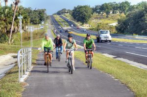 The 4.5 mile, 10-foot wide U.S. 301 Bicycle Pedestrian Trail extends from Kossik Road to Dade City Avenue. It was built within the existing road right-of-way on the west side of U.S. 301.